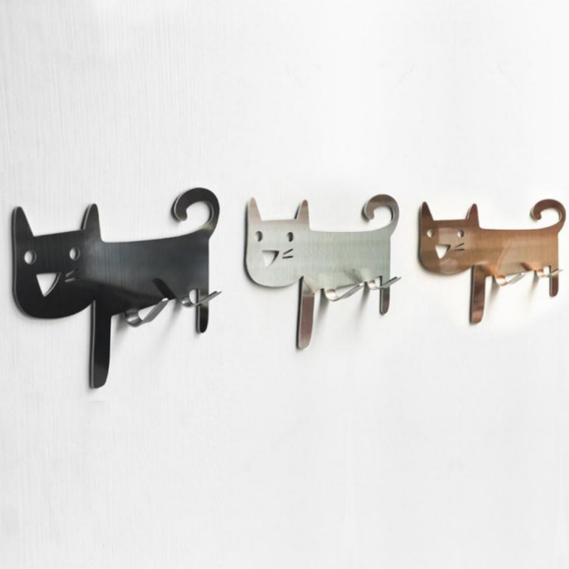 Cat-shaped Wall Mount Hooks - Decorative Stainless Steel Hanger For Living Room, Bathroom, Bedroom