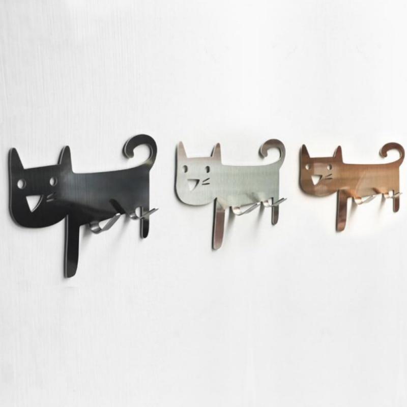 Cat-shaped Wall Mount Hooks - Decorative Stainless Steel Hanger For Living Room, Bathroom, Bedroom