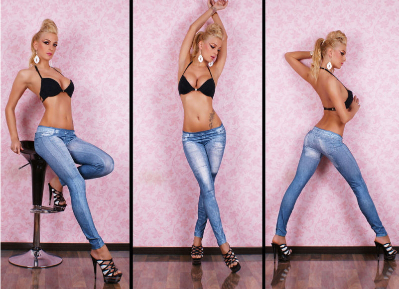 5S8218 Free shipping leggings jeans Best selling Jeans Blue ...