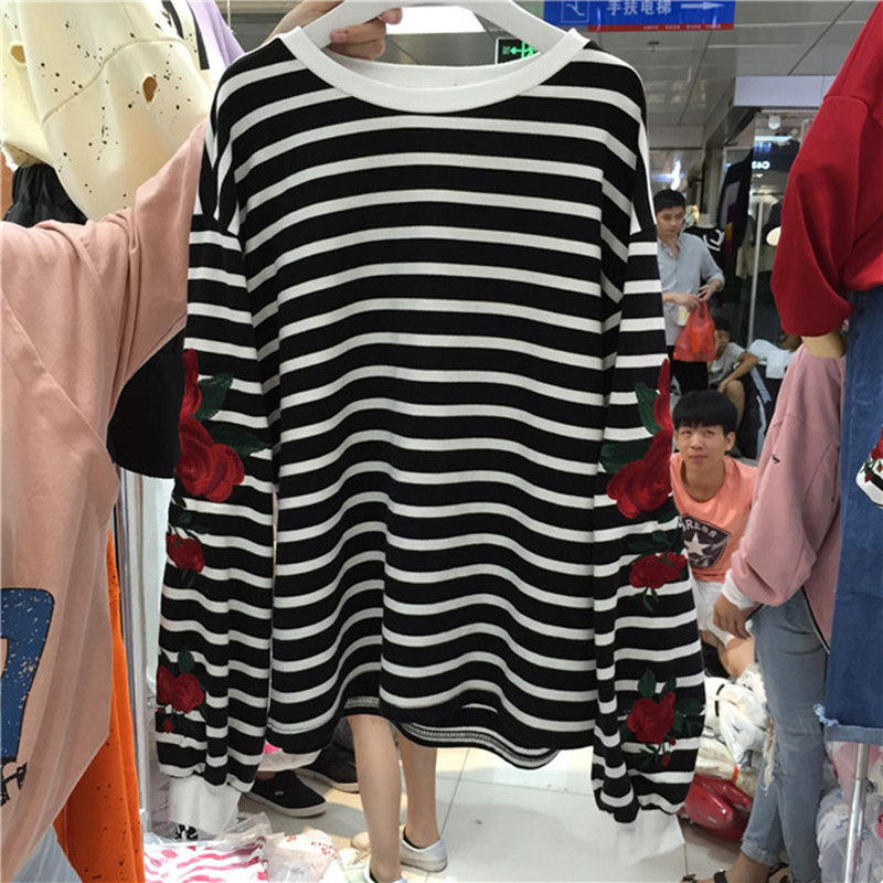 2018 neue Herbst Harajuku Hoodies Rosen Stickerei Laterne Hülse Lose - Damenbekleidung - Foto 6