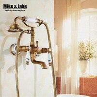 Antique bath faucet shower bronze porcelain shower faucet bathroom telephone bath faucet with hand shower bathroom shower tap