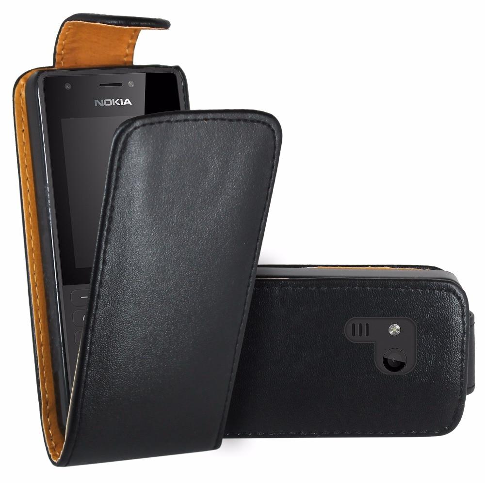 Black Flip Premium Leather Skin Bag Case Cover For Nokia 216 / Nokia 216 Dual Sim