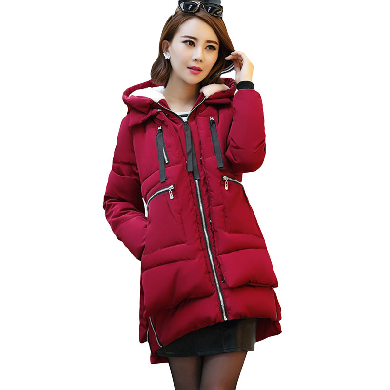 2017 Winter Women Parka Hooded Long Plus Size Cotton Thick Women Jacket Outwear Warm Padded New Fashion Women Coat YP0625 2014 new winter women cotton padded down jacket coat hooded loose plus size coats warm thick outwear big pockets ry143