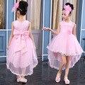 Niños Vestidos Asimétricos Para Niñas Partido de La Princesa Vestido Sin Mangas Del Tutú de Tul Vestido de Novia de cola de Milano Niños Vestidos de Bola Vestidos
