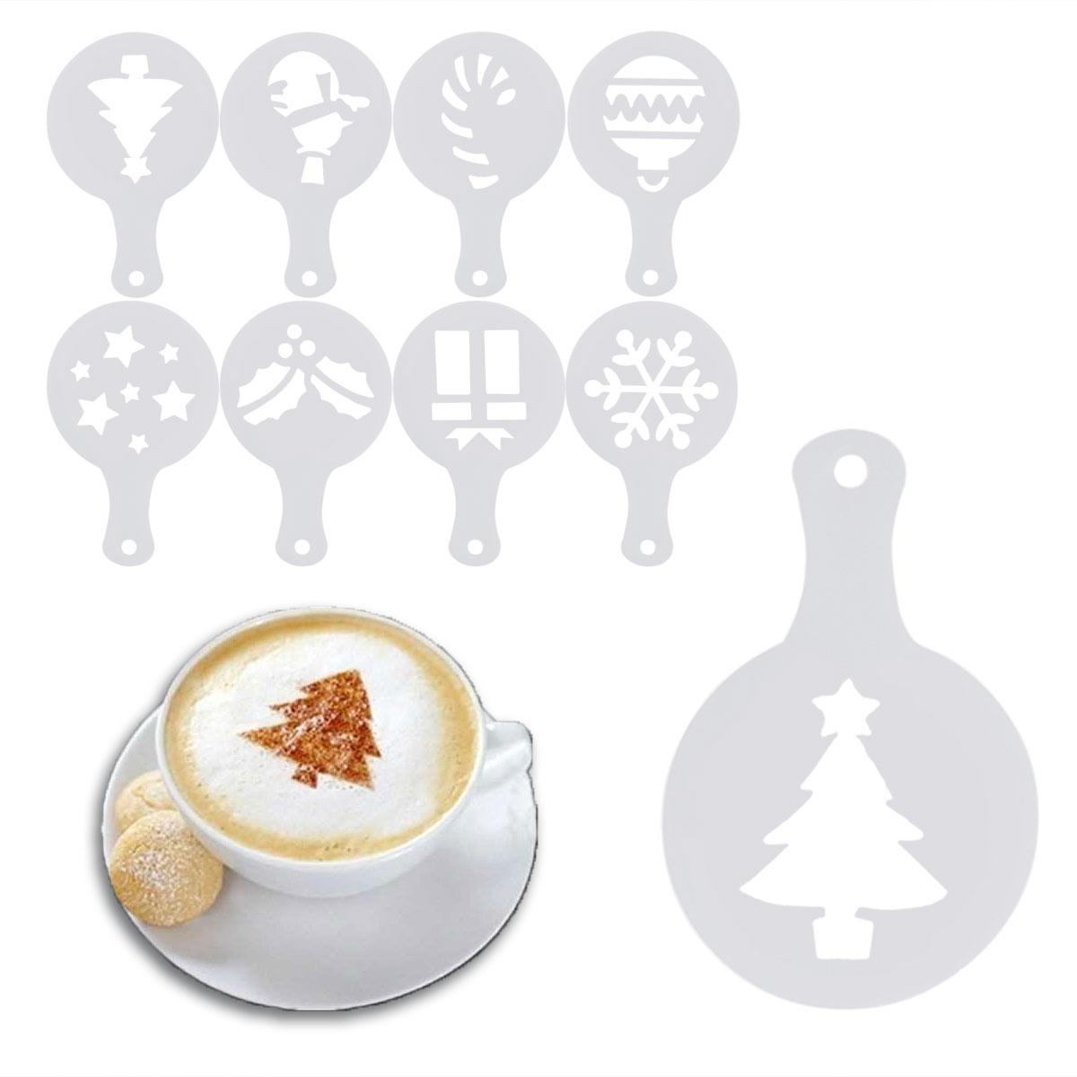 8Pcs Christmas Theme Coffee Stencils Plastic Birthday Cake Spray Mold Decorating Screen Printing Film Tiramisu Mode In From