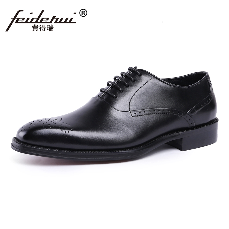 Luxury Formal Dress Man Carved Brogue Shoes Genuine Leather Round Toe Men's Oxfords Handmade Wedding Party Footwear JS88 watchbands black brown leather watch strap band genuine soft buckle wrist replacement fits mens relojes hombre 2016 18 20mm 26mm
