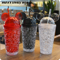 Summer Mouse Shape Plastic Water Bottle Copo Com Canudo Creative Ice Colorful Drinkware With Straw Home