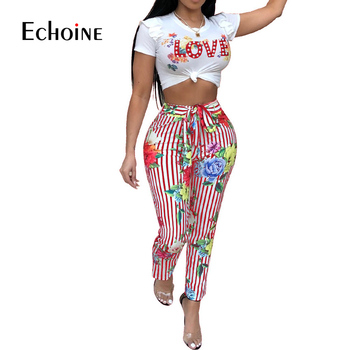 2019 Summer Casual 2 Piece Set Women Crop Top And Pant Ladies Sexy Ruffle Floral Striped Print Cute Matching club outfit set