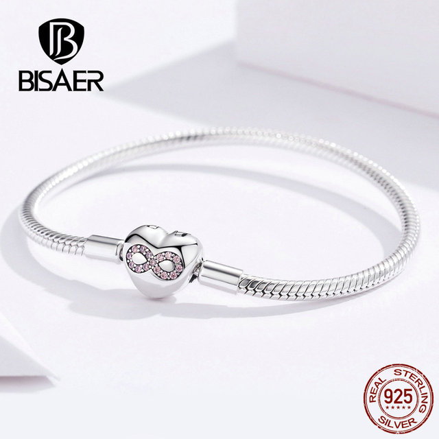 BISAER 925 Sterling Silver Heart Shape Clasp Infinity Love Infinite Femme Silver Bracelets for Women Jewelry Pulseira ECB142