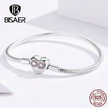 BISAER 925 Sterling Zilveren Hart Vorm Sluiting Infinity Liefde Oneindige Femme Zilveren Armbanden voor Vrouwen Sieraden Pulseira ECB142