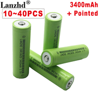 10~40PCS NEW battery 18650 with Pointed batteries 30A 3400mAh For electronic cigarette Power Battery 18650 rechargeable battery