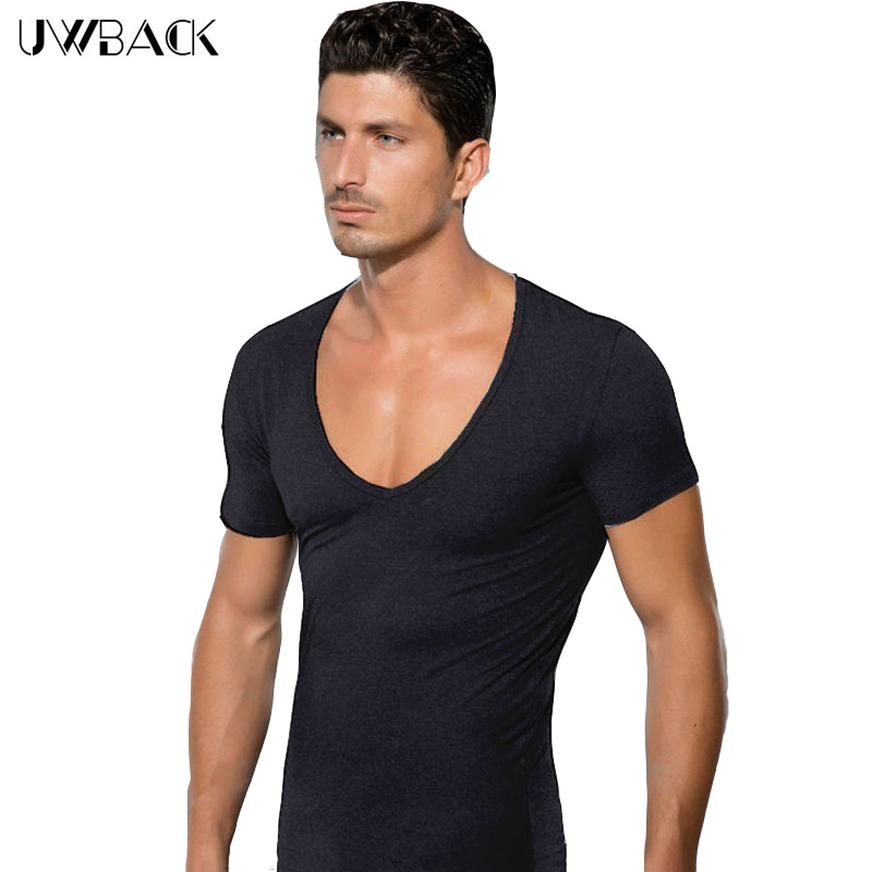 Uwback2017 Summer Fashion Elasticity Sexy Men Deep V Neck   T     Shirt   Tee Silm   Shirts   Fitness Cool Top Clothes undershirt 2XL CAA293