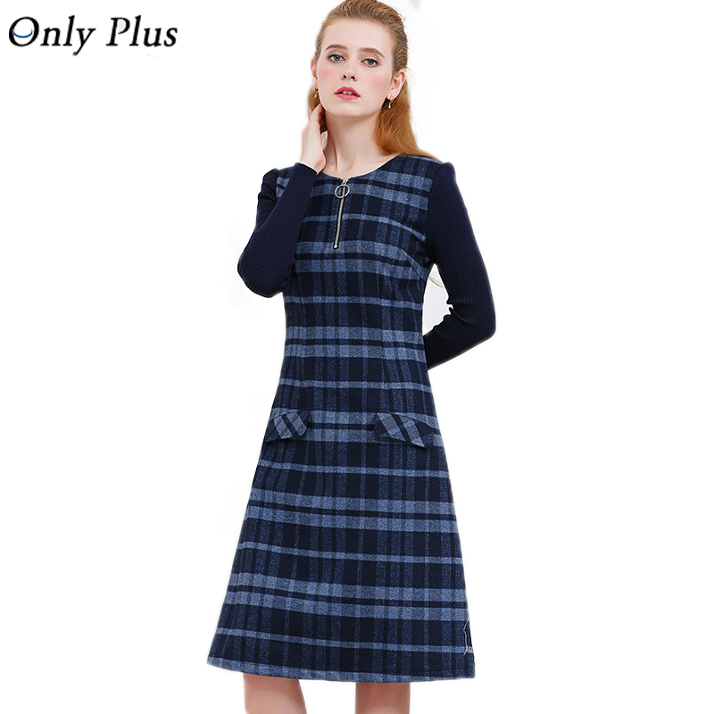 ONLY PLUS Ladies Woolen Dress for Women Knit Long Sleeve Mosaic High Quality Elegant A line Stripe Dress Winter 2018