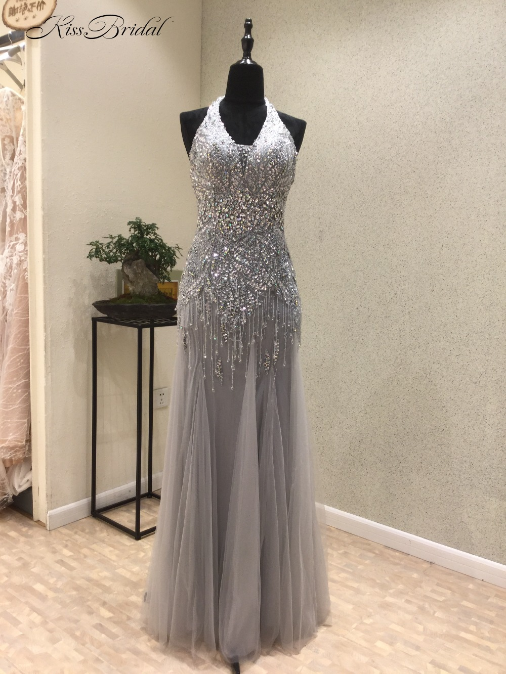 New Sexy Mermaid   Prom     Dresses   2018 Halter Neck Sleeveless Floor Length Beading Tulle Long Evening   Dress   moroccan kaftan