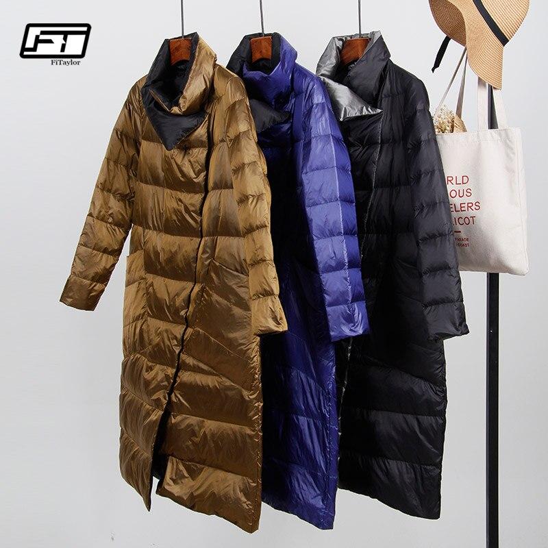 Fitaylor белая утка подпушка ультра легкая куртка для женщин Зимняя Двусторонняя тонкий пальто однобортный мужские парки