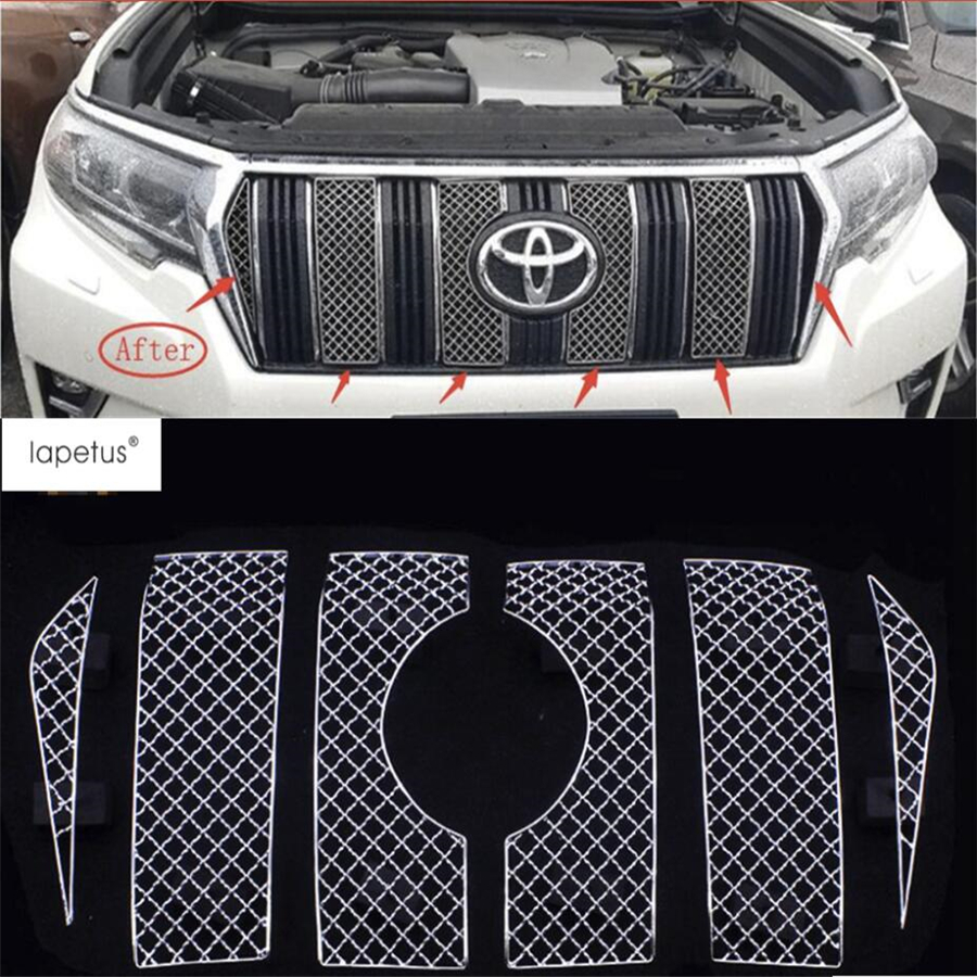 Lapetus Accessories For Toyota Land Cruiser Prado Fj150 2018 Front Face Grille Grill Molding Cover Kit