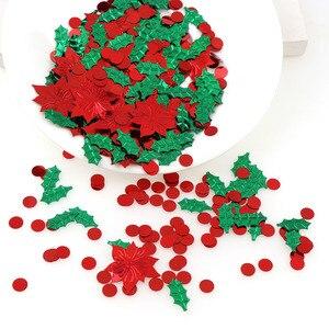 Image 5 - 15 กรัมสีผสมพลาสติกคริสต์มาสสีเขียวใบสีแดงดอกไม้ Confetti Tinfoil Sequins คริสต์มาสของขวัญตกแต่ง