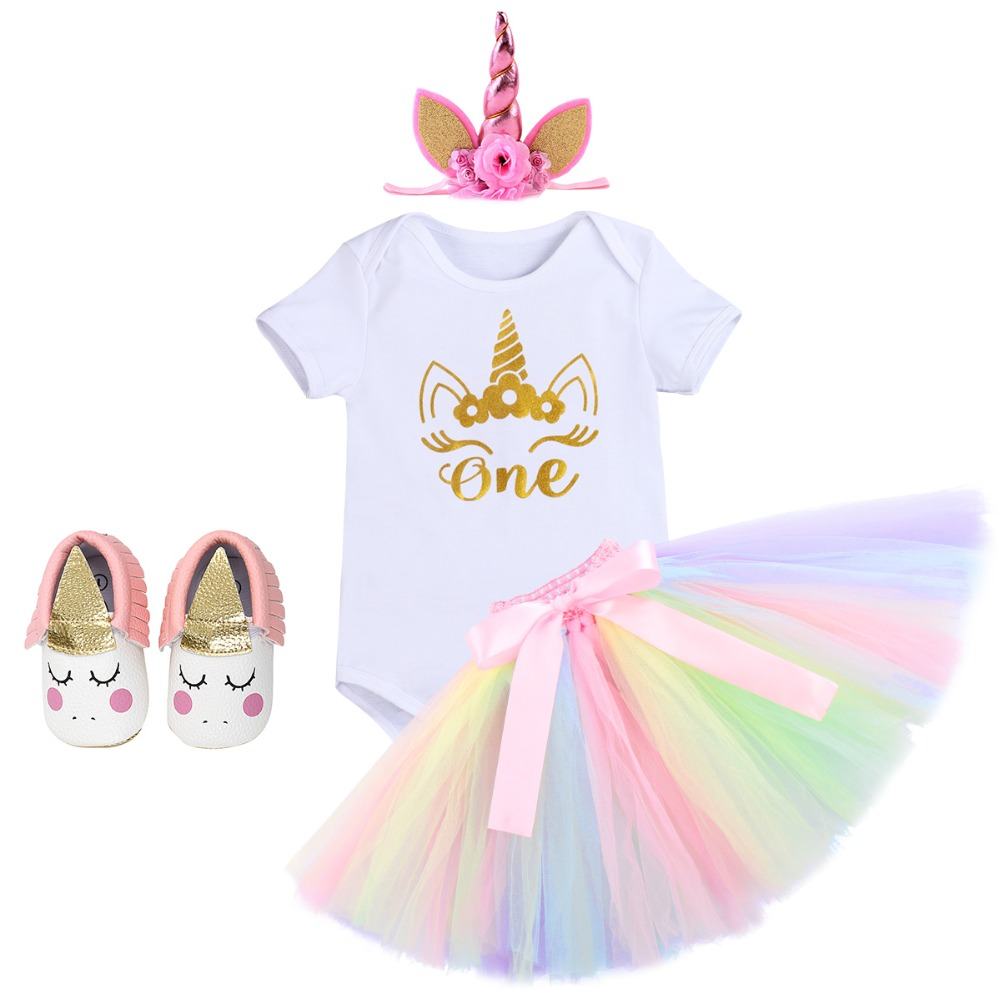 4pcs baby girls unicorn clothes set baby first birthday cake smash outfit girls skirt romper baby shoes headband baby outfits4pcs baby girls unicorn clothes set baby first birthday cake smash outfit girls skirt romper baby shoes headband baby outfits