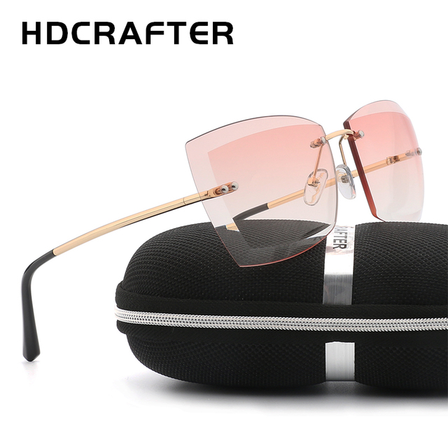 b121d59506a HDCRAFTER Oversized Women Sunglasses Square Rimless Diamond cutting Lens  Brand Designer Fashion Shades Sun Glasses With Box