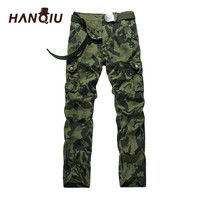 HANQIU Fashion Camouflage Cargo Pants Plus Size 29 40 2017 Brand Men Clothing Male Casual Man