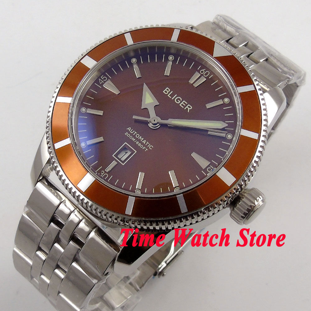 Bliger 46mm Brown dial date luminous Stainless steel band deployant clasp Automatic men's watch BL99 цена и фото
