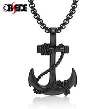 OBSEDE Punk Men's Stainless Steel Pendants Necklace One Piece Cross Anchor Fashion Men Women Fashion Jewelry Black/Gold/Silver