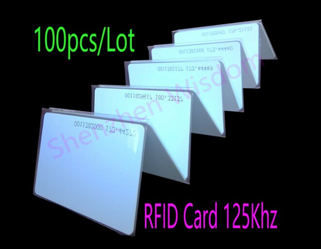 100pcs/Lot 125KHz RFID Card EM4100 TK4100 Smart Cards Proximity RFID Tag for Access control usb 125khz em4100 rfid proximity reader 5 cards 5 key tags 5 dia card