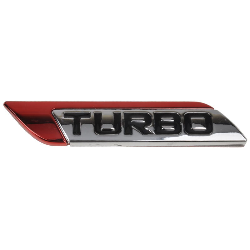 Red 3D Metal New Turbo Car Emblem Badge For Most Cars Motorcycle Bike Fender Trunk Lid Sport Nameplate Sticker Decoration