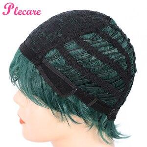 Image 5 - Plecare peruka z krótkich prostych włosów Ombre zielony żaroodporne włosy peruka syntetyczna dla czarnych/białych kobiet Anime Cosplay/peruki na przyjęcie