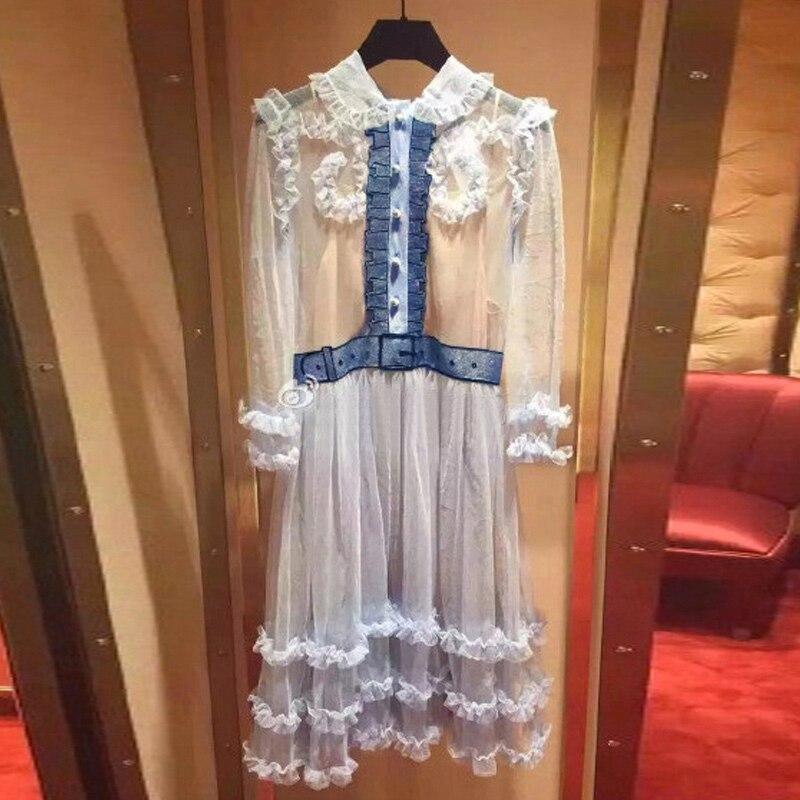 Ky&Q High Quality Summer Runway Women Party Dress Sexy see through blue mesh sheer 3/4 sleeve sequin ruffles mini dress vestidos