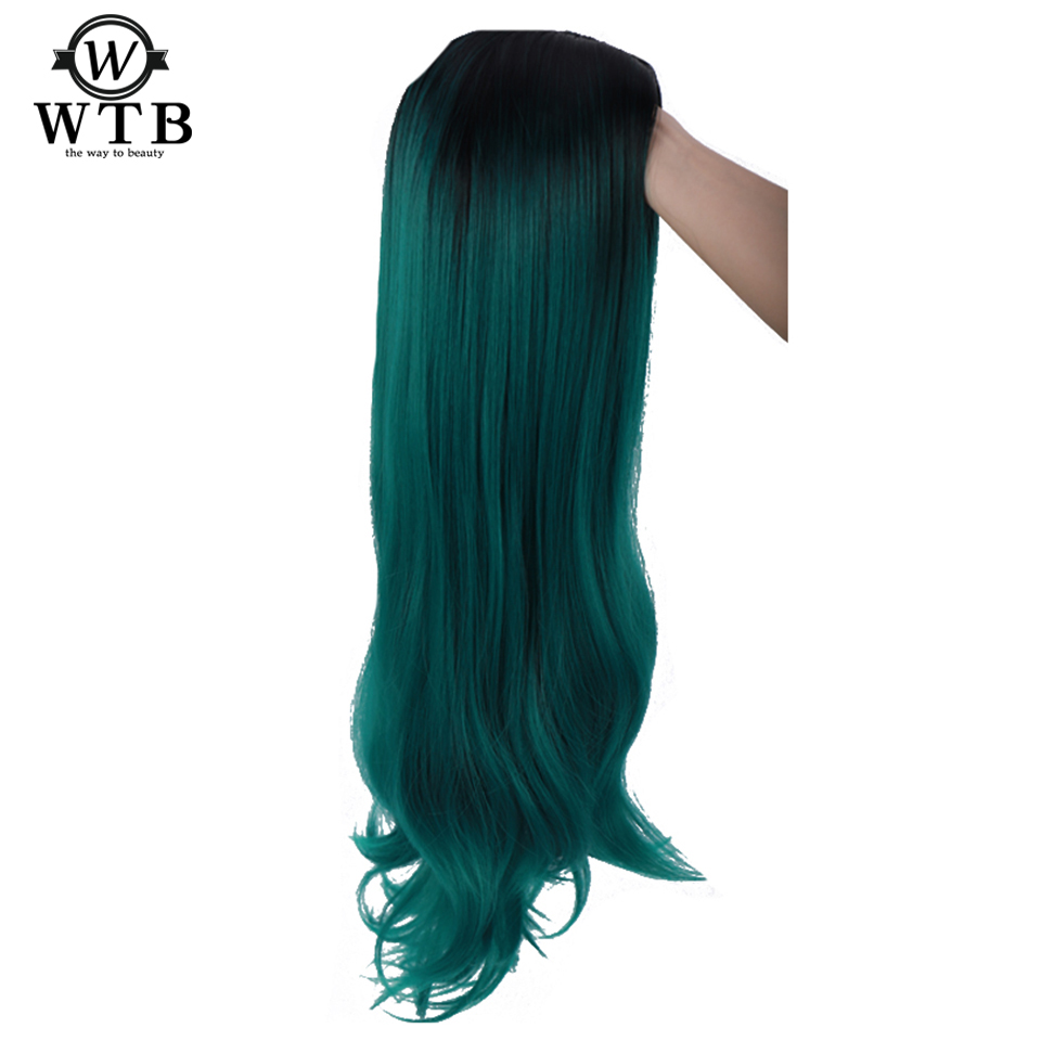 WTB Ombre Brown Color Lace Front Synthetic Hair Wigs  Natural Wave Heat Resistant Fiber Long Wavy Lace Frontal Wig Free Part