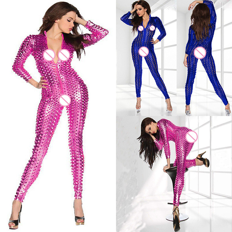 5 Colors Hot Women Sexy Shiny Leather Latex Jumpsuit Hollow Out Hole DJ Dance Catsuit Exotic Clubwear PVC Bodysuit One Size