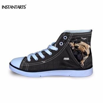 Cute Black Flats | INSTANTARTS Cute Pug Dog Flats Shoes Black 3D Denim Animal Dog Cat Print Kid Classic Vulcanize High Top Canvas Shoe Boy Sneakers