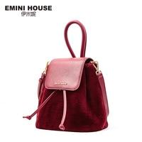 EMINI HOUSE Split Leather Bucket Bag Women Messenger Bags Drawing Crossbody Bags For Women Shoulder Mini