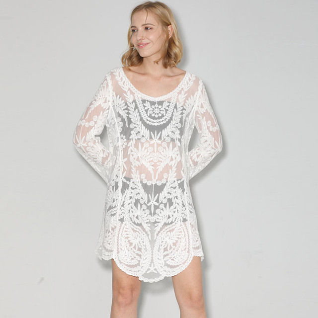 Us 1399 Bohofree Lace Dress Women O Neck Long Sleeve Loose Maxi Dress Floral Lace Cotton Dress Tops Summer Holiday Beach Vestidos Mujer In Dresses