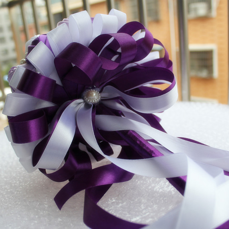 Image 5 - Romantic Purple White Ribbon Wedding Bouquet Decorative Artificial Rose Flowers Bridal Crystal Pearls Silk Stitch Bouquets W271flower design diamond ringflower print ribbonflowering tobacco -