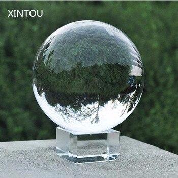 XINTOU Claro Fotografia Lente de Vidro Bola de Cristal Sphere 50mm Bolas Globo com Suporte Casa Arte Decoração Feng Shui Mascote ornamentos