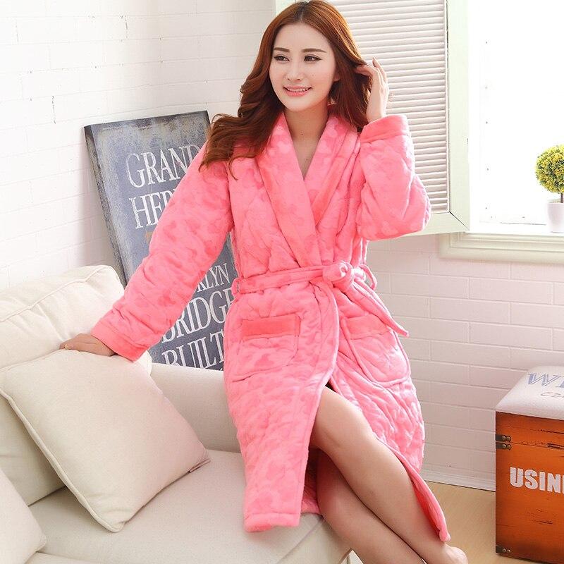 Ruso invierno Albornoz de manga larga pijama mujeres chaqueta ...