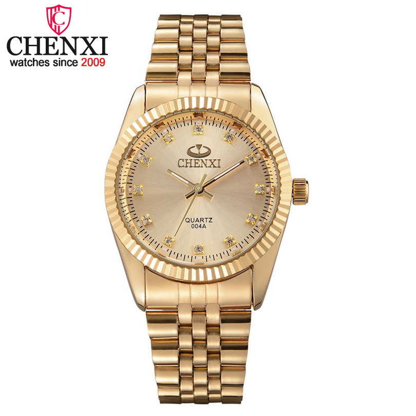 CHENXI Men Gold Watch Male Stainless Steel Quartz Golden men's Wristwatches for Man Top Brand Luxury Quartz-Watches Gift Clock chenxi steel strap tachymeter quartz watch