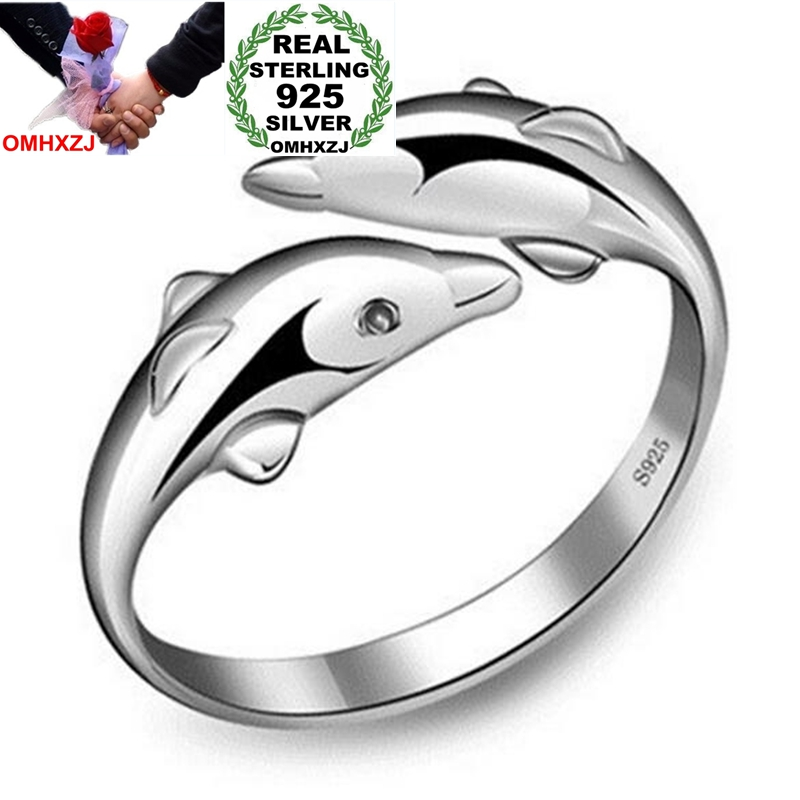 OMHXZJ Wholesale Fashion Joker Simple Dolphins Lovers Couple 925 Sterling Silver Open Adjust Female For Woman Man Ring Gift RG06