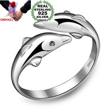 OMHXZJ Wholesale Fashion Joker Simple Dolphins Lovers Couple 925 Sterling Silver open adjust female for Woman Man Ring Gift RG06(China)