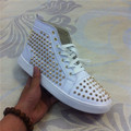 2016 real Leather Brand men shoes white High Top Casual Shoes Rivets Lace Up Flats Plus Size 46