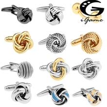 Черные запонки для мужчин, модный дизайн с узлом, высокое качество, медь,, запонки, опт и розница