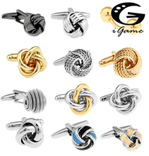 Free shipping Black Cufflinks for men fashion knot design top quality copper hotsale cufflinks whoelsale amp retail cheap Tie Clips Cufflinks Classic Cuff Links Ball Simulated-pearl knot series Metal igame