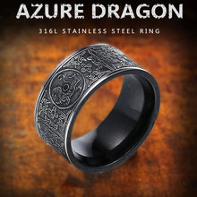 Viking Rvs Dragon mannen Ring Gothic zwarte ring Noord-europa Thor Chinese style bedels Sieraden unieke bague homme(China)