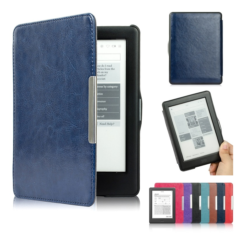 PU Leather ebook Case For Kobo Glo HD Auto Wake Up Sleep Slim Magnet Flip Smart Cover Crazy Horse Lines 6 inch eReader Cases ultra slim ebook case for amazon kindle voyage 2014 magnet flip cover pu leather cross lines ereader cases wake sleep