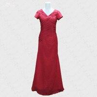 RSE257 Red Chiffon Cap Sleeves V Neckline Long Godmother Dresses