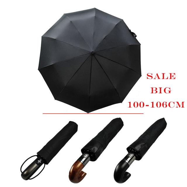 EasyZreal Leather Curved Handle men Automatic business Umbrella Male Windproof Black Big auto Umbrellas parasol Rain paraguas