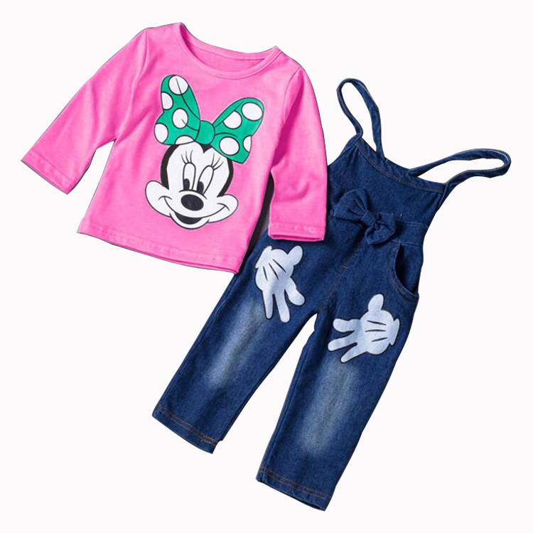 New Minnie Girls Clothing Sets Spring Casual Children Suspenders Sets Full Sleeve Cotton shirt Bow Jeans