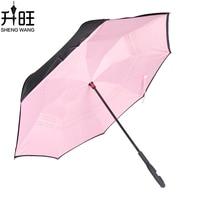 Double Layer Inverted Umbrella Windproof Rain Folding Pink Umbrellas Women Unti-UV Man
